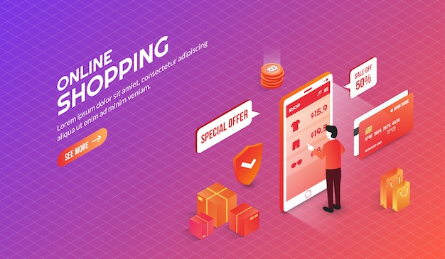 Isometrische online winkelelementen bestemmingspagina Premium Vector