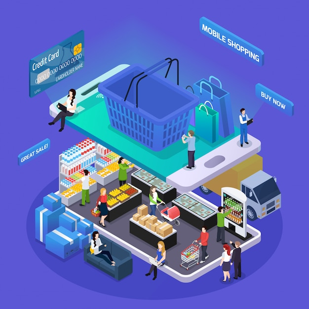 Isometrische online winkelen illustratie Gratis Vector