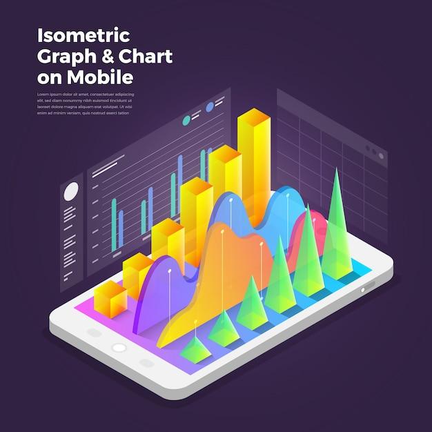 Isometrische ontwerpconcept mobiele applicatie analytics tools. Premium Vector