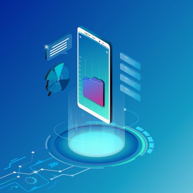 Isometrische ontwerpconcept mobiele technologie oplossing. Premium Vector