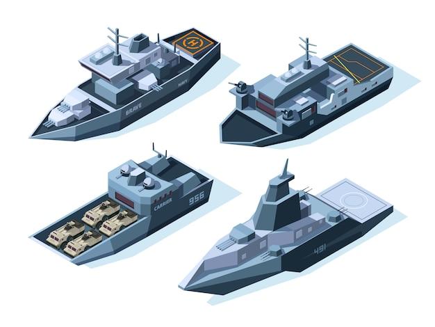 Isometrische oorlogsschepen. militaire boten op wit wordt geïsoleerd Premium Vector