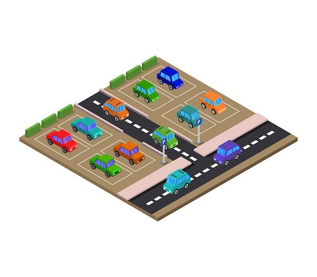 Isometrische parkeerplaats Premium Vector