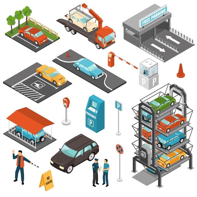 Isometrische parkeerplaats Gratis Vector