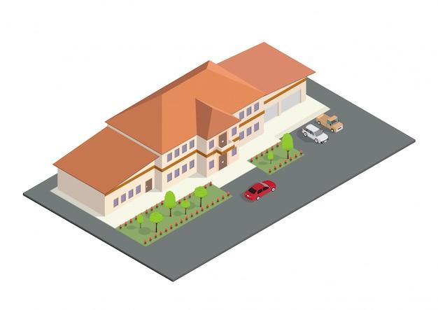 Isometrische pictogram vertegenwoordigt een modern huis Premium Vector