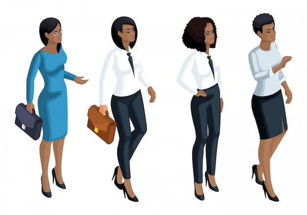 Isometrische pictogrammen emotie een afro-amerikaanse vrouw, zakenvrouw, general manager, advocaat. gezichtsuitdrukking, make-up. kwalitatief voor illustraties Premium Vector