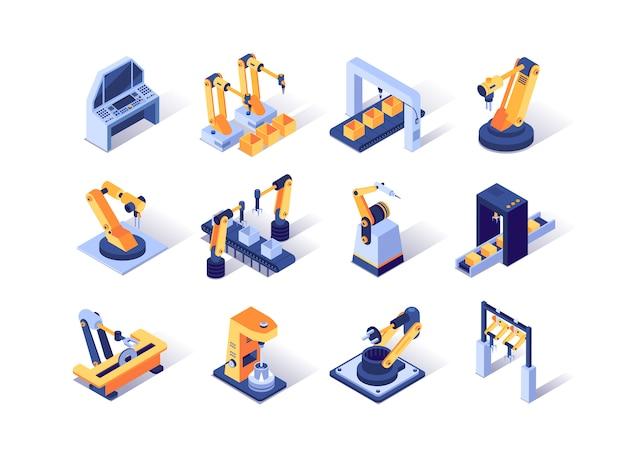 Isometrische pictogrammen robotisering industrie ingesteld. Premium Vector