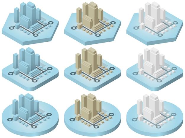 Isometrische pictogrammen van de stad Premium Vector
