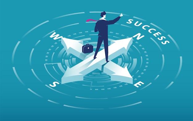 Isometrische pijl van kompas met zakenman wijzend naar succes slogan Premium Vector