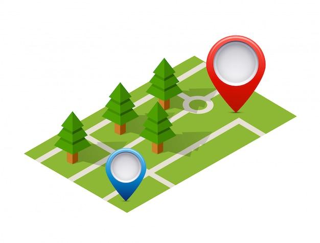 Isometrische pin pictogram op de navigatiekaart Premium Vector