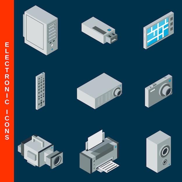 Isometrische plat 3d elektronische apparatuur iconen collectie Premium Vector