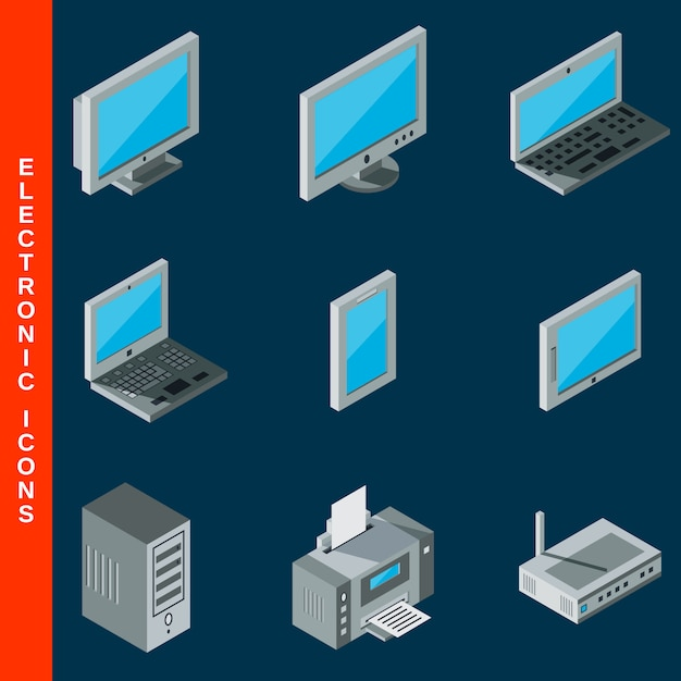 Isometrische platte 3d computer apparatuur pictogrammen instellen Premium Vector