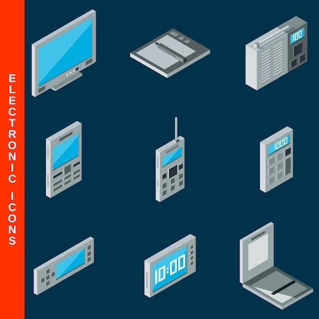 Isometrische platte 3d elektronische apparatuur pictogrammen instellen Premium Vector