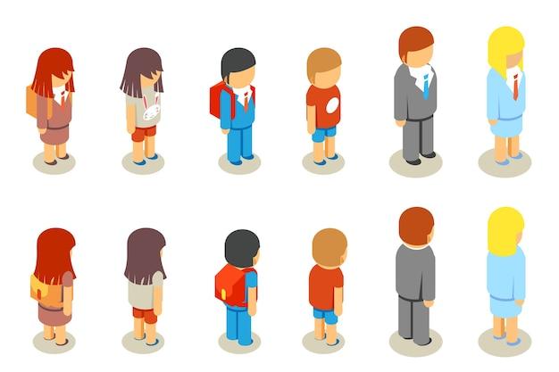 Isometrische platte 3d scholieren en leraar mensen. onderwijsmensen, persoon mens, vrouw en man, Gratis Vector