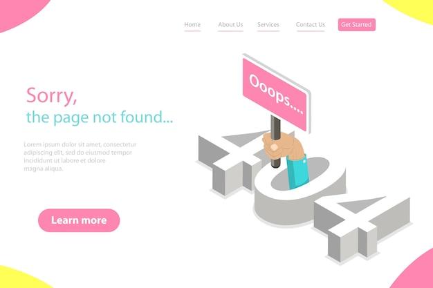 Isometrische platte bestemmingspagina tempate van 404-fout, pagina niet gevonden, verbroken verbinding, webpagina in aanbouw. Premium Vector