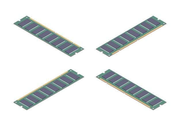 Isometrische platte ram geheugenkaart Premium Vector