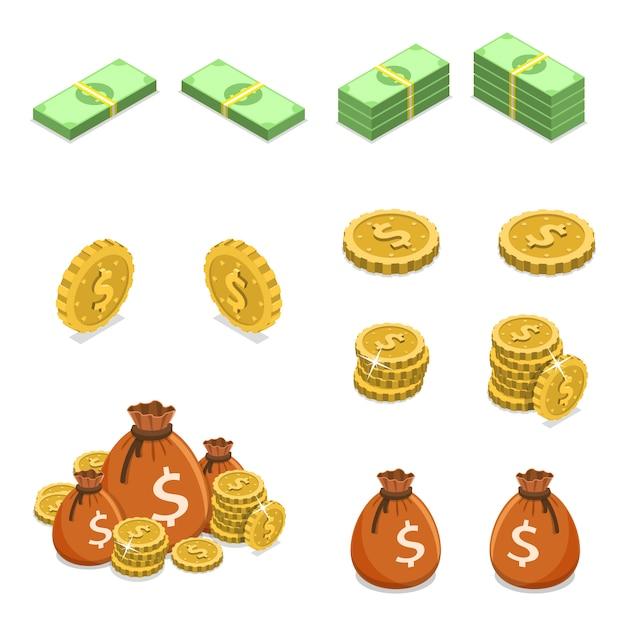 Isometrische platte vector concept van geld zoals munten, bankbiljetten en geldzakken. Premium Vector