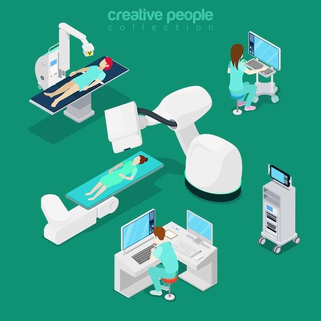 Isometrische platte ziekenhuis moderne apparatuur, computer diagnostische illustratie Premium Vector