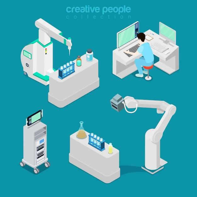 Isometrische platte ziekenhuis moderne apparatuur, diagnostische illustratie van het computerlaboratorium Gratis Vector