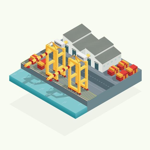 Isometrische, port-ladingskraan en pakhuiscontainer in het oceaanvervoer. illustratie vector Premium Vector