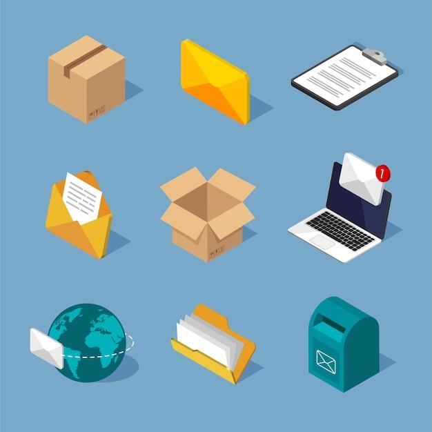 Isometrische postpictogrammen instellen. verschillende postsymbolen. isometrische brievenbus, e-mailenvelop, brieven. Premium Vector