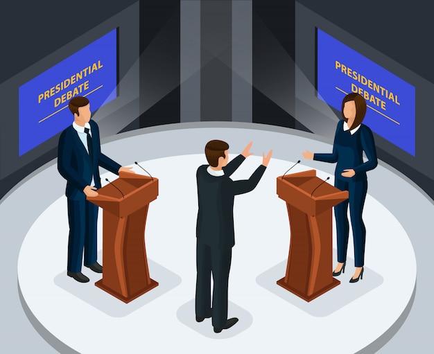 Isometrische presidentiële debatten concept Gratis Vector