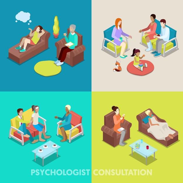 Isometrische psycholoog overleg. mensen met psychotherapie. vector 3d platte illustratie Premium Vector
