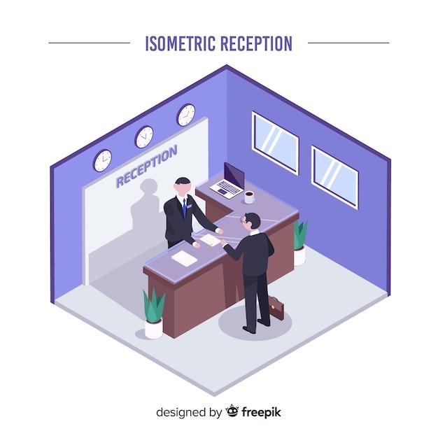 Isometrische receptie concept Gratis Vector