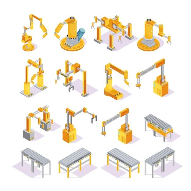Isometrische reeks gele grijze transportbandmachines met robotachtige hand voor lassen of verpakking geïsoleerde vectorillustratie Gratis Vector