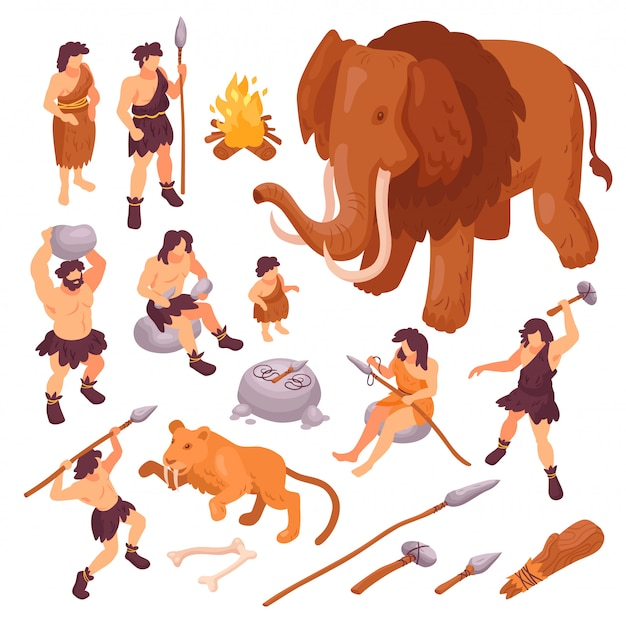 Isometrische reeks pictogrammen met primitieve mensen hun wapens en oude dieren die op witte 3d illustratie worden geïsoleerd als achtergrond Gratis Vector