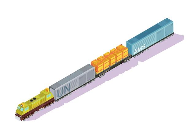 Isometrische reeks treinen van auto's met voortbewegingsmotorentrailwagens en de bestelwagens van het vrachtijskastje met schaduwen vectorillustratie Gratis Vector