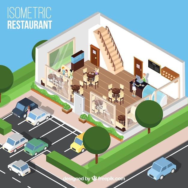 Isometrische restaurant's eetkamer en parkeerplaats Gratis Vector