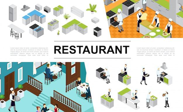 Isometrische restaurant samenstelling met keuken interieur meubelen chefs koken verschillende gerechten en maaltijden ober bezoekers zitten aan tafel Gratis Vector