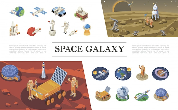 Isometrische ruimte-elementen samenstelling met raketten ruimteschepen pendeldiensten astronauten ontmoeting met aliens ufo ruimtekolonie maan rover verschillende planeten Gratis Vector