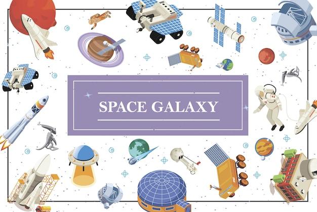 Isometrische ruimte-elementen samenstelling met ruimteschepen shuttles satellieten raketten astronauten aliens ufo planeten lunar rover kosmisch station en basis Gratis Vector