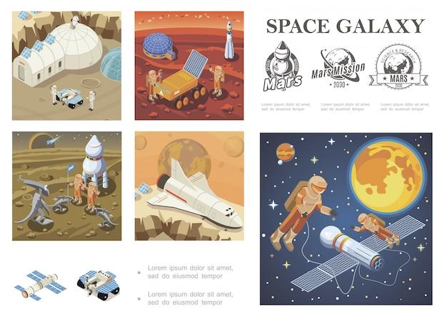 Isometrische ruimteverkenning compositie met shuttle satelliet mars kolonisatiebasis maanrover astronauten ontmoeting met buitenaardse kosmonauten in de ruimte melkwegetiketten Gratis Vector