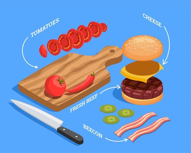 Isometrische samenstelling cheeseburger voorbereiden Gratis Vector
