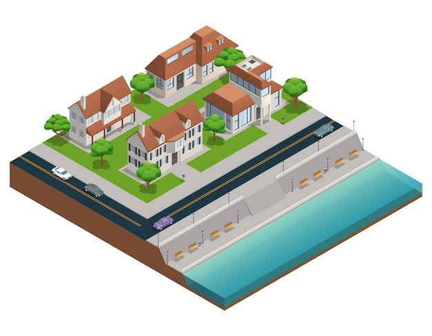 Isometrische samenstelling met huizen in de voorsteden dichtbij inscheping op witte vectorillustratie als achtergrond Gratis Vector