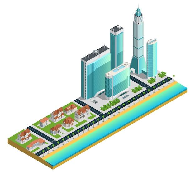 Isometrische samenstelling met moderne wolkenkrabbers en huizen in de voorsteden Gratis Vector