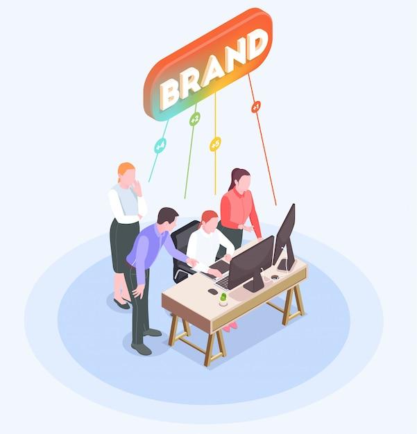 Isometrische samenstelling met reclamebureau werknemers brainstormen op kantoor 3d Gratis Vector