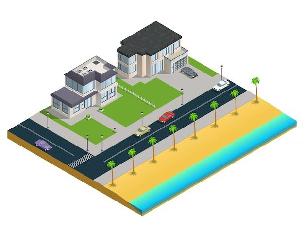 Isometrische samenstelling met twee huizen in de voorsteden dichtbij zandstrand Gratis Vector