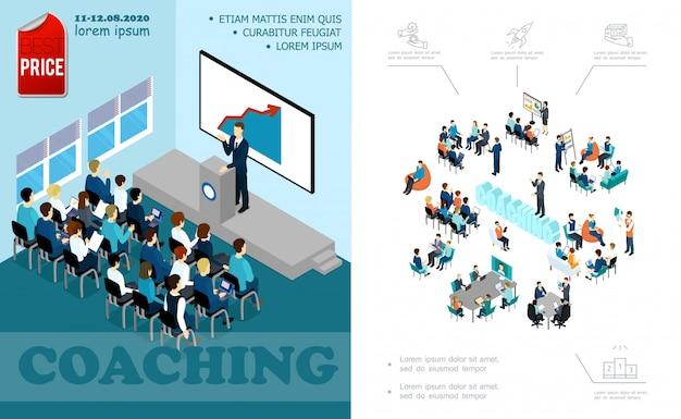 Isometrische samenstelling van bedrijfseducatie met spreker die spreekt met auditorium brainstorming personeel coaching seminar online conferentie Gratis Vector
