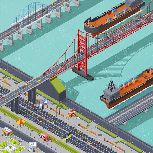 Isometrische samenstelling van bruggen Gratis Vector