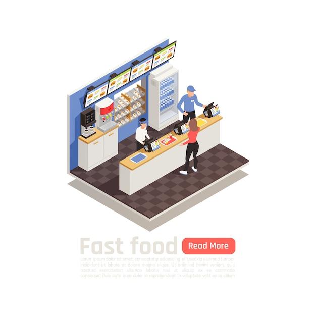 Isometrische samenstelling van het fastfoodrestaurant met bedienend personeel in uniform bij de kassa en vrouw die het eten opdracht geven Gratis Vector