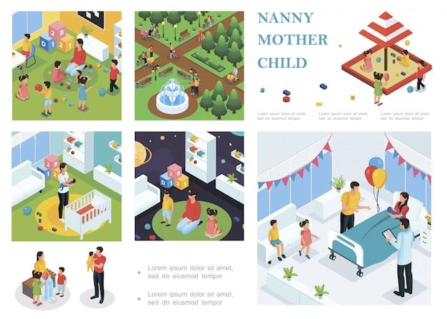 Isometrische samenstelling van kinderopvang met oppas wandelen en spelen met kinderen babysitter zet baby in slaap vader feliciteert moeder met bevalling Gratis Vector