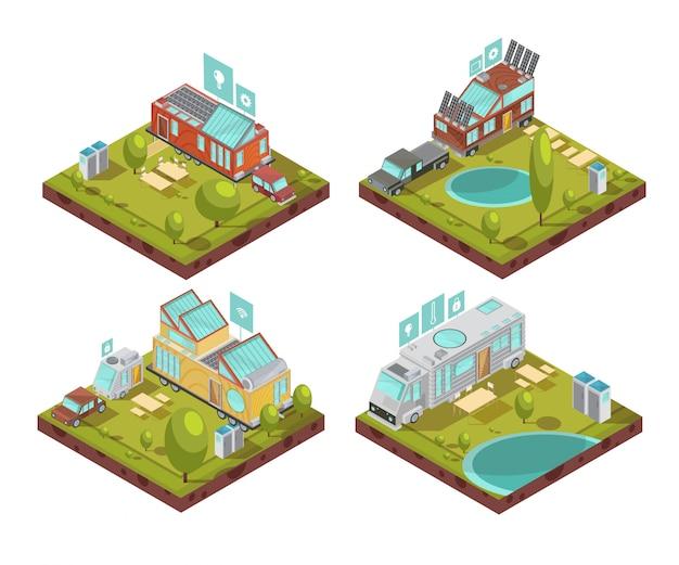 Isometrische samenstellingen met mobiel huis, dakzonnepanelen, technologieënpictogrammen bij kampeerterrein in zomer geïsoleerde vectorillustratie Gratis Vector