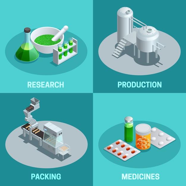 Isometrische samenstellingen van farmaceutische productiestappen zoals de verpakking van de onderzoekproductie en de vectorillustratie van eindproductgeneesmiddelen Gratis Vector