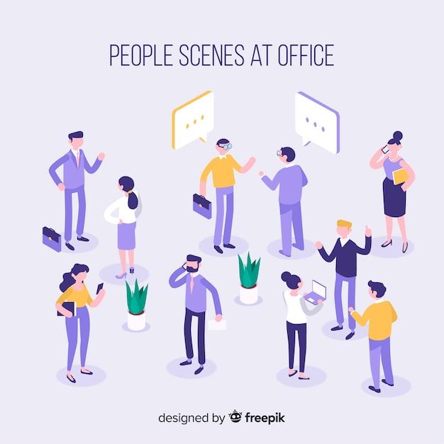 Isometrische scènes op de kantoorcollectie Gratis Vector