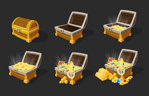 Isometrische schatkisten animatieset Gratis Vector