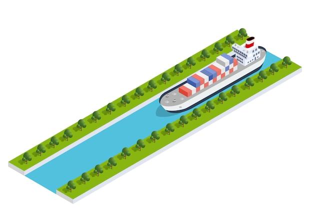 Isometrische scheepslading Premium Vector