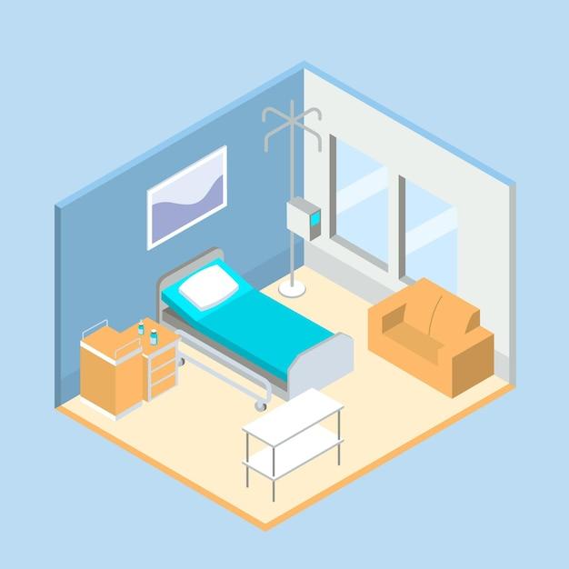 Isometrische schone ziekenhuiskamer Gratis Vector